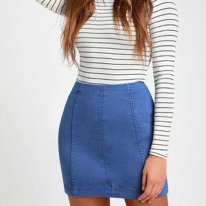 Free People Modern Femme Blue Mini Skirt